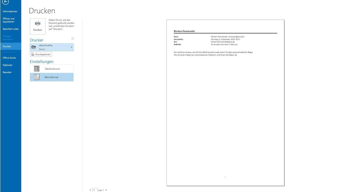 Outlook gibt nun eine Übersicht über das zu druckende Element. Stimmt alles? Dann drücken Sie auf