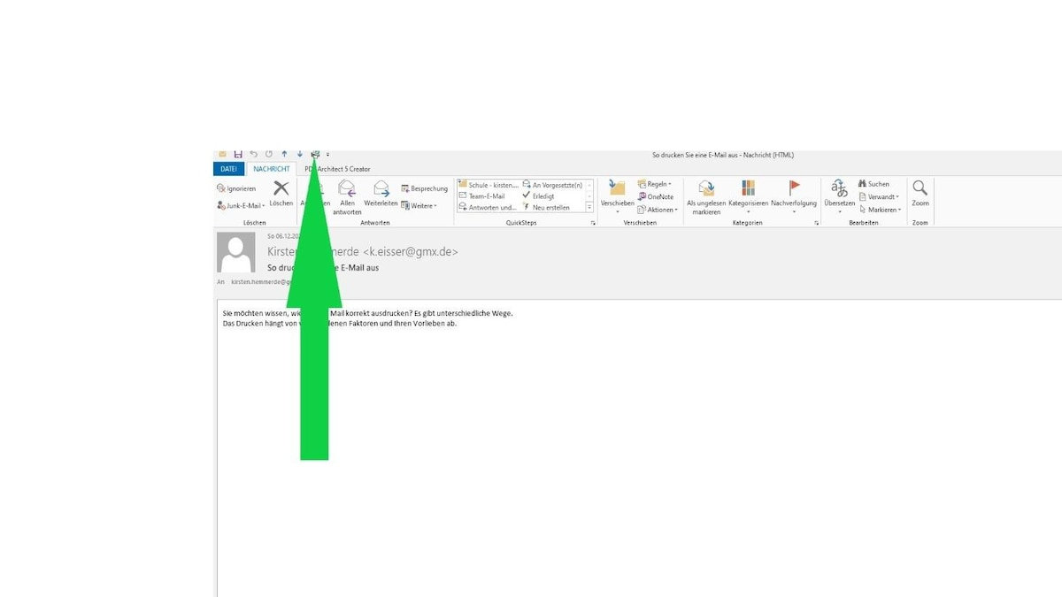 In der Schnelldruck-Option klicken Sie im Posteingang zwei Mal auf die zu druckende Mail. Die Mail wird geöffnet und Sie wählen das Druckersymbol in der oberen Menüleiste aus. Der Druck startet automatisch.
