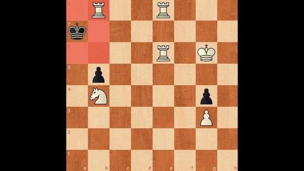 Weiß nimmt dem schwarzen König sämtliche Felder, ohne ihn anzugreifen - eine Pattsituation.