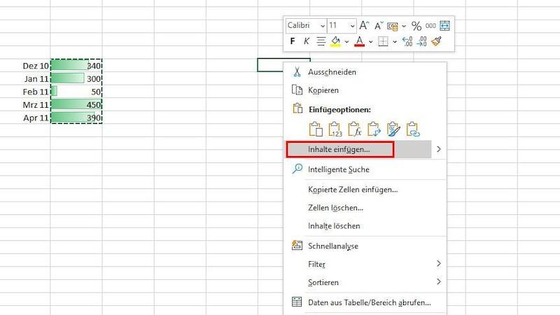 In Excel können Sie eine bedingte Formatierung komplett in andere Zellen übertragen, indem Sie zuerst diese kopieren und dann in der Zielzelle auf