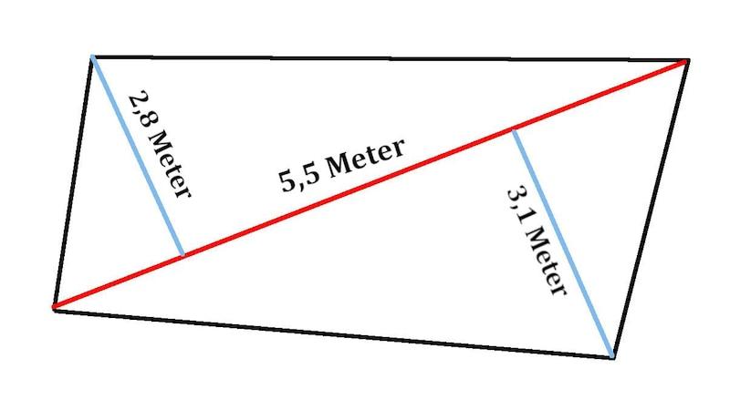 Wenn Sie die Quadratmeter bei ungleichen Seiten berechnen wollen, müssen Sie eine Diagonale ziehen und die Länge von dieser zu den gegenüberliegenden Ecken bestimmen.