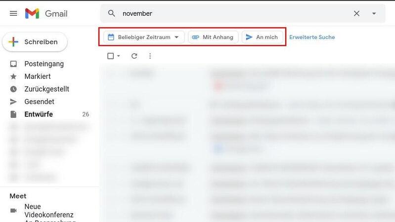 Die Gmail-Suche können Sie mit den Infofeldern unterhalb des Suchfeldes optimieren.