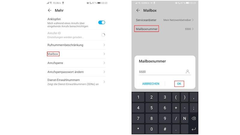Wenn Sie bei Huawei die Mailbox abhören wollen, ist es hilfreich, in den Einstellungen die Nummer der Mailbox einzutragen.