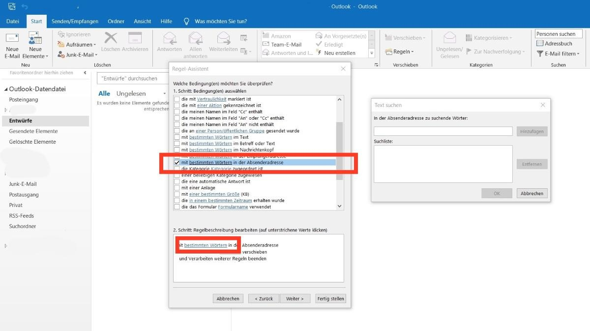 Outlook: Mail-Adresse sperren 2. Schritt