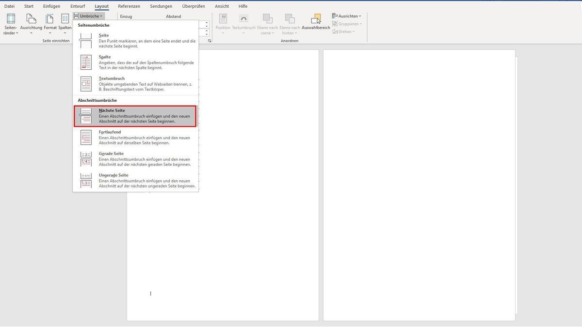 Wenn Sie in Word einzelne Seiten im Querformat anlegen wollen, klicken Sie mit der Maus ans Ende der Seite, nach der eine Seite im Querformat folgen soll. Dann fügen Sie über