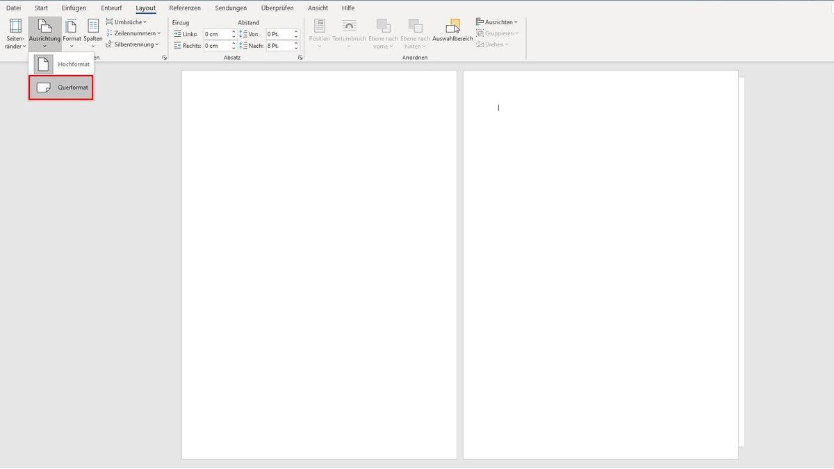Nachdem Sie den Abschnittsumbruch eingefügt haben, ändern Sie das Seitenformat über