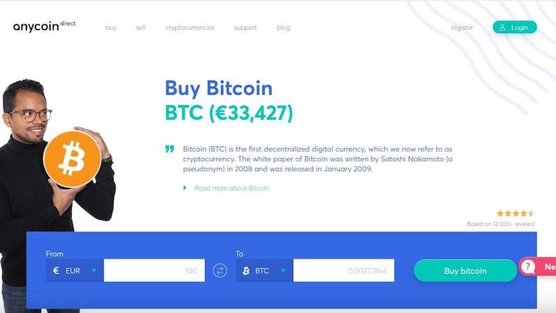 Anycoindirect.eu: Übersichtliche Website in englischer Sprache