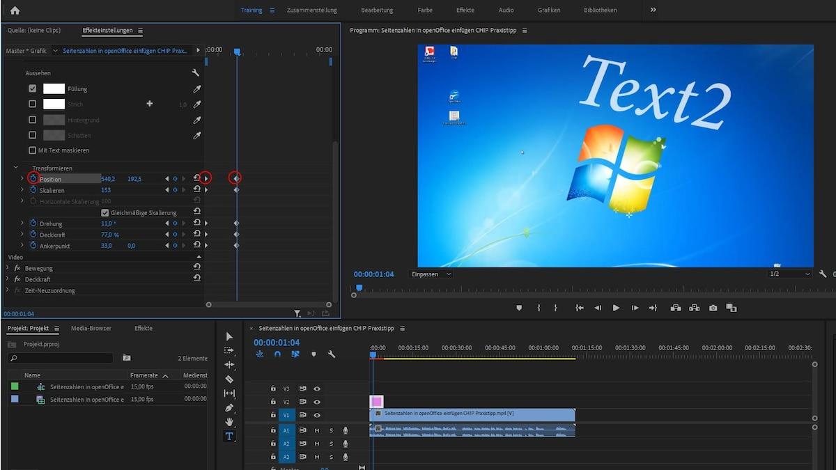 Indem Sie bei den Transformationseinstellungen Keyframes verwenden, animieren Sie den Text.