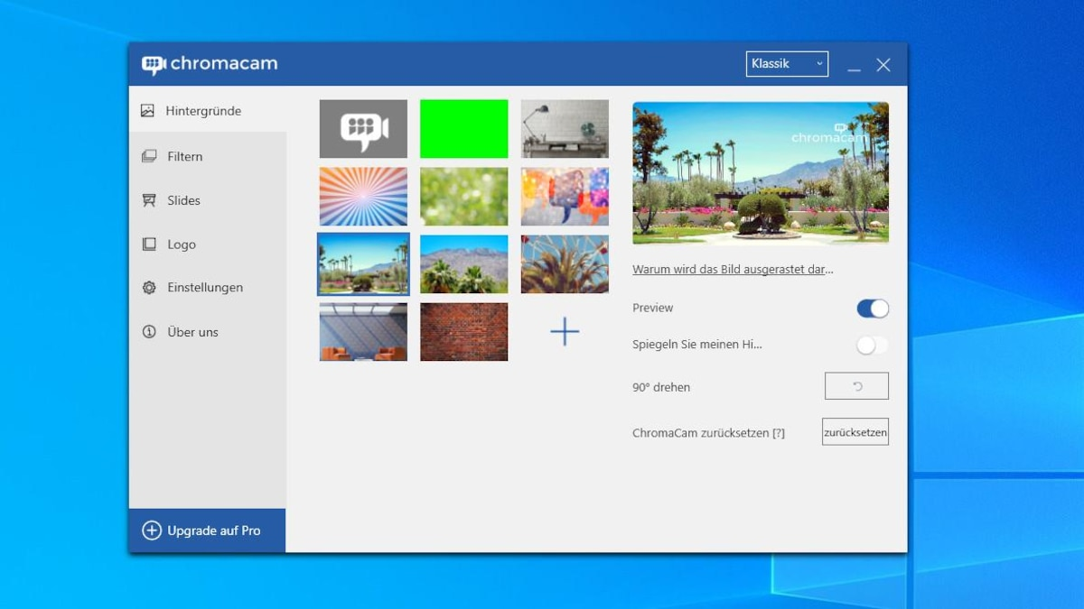 Wenn Sie einen virtuellen Hintergrund in BigBlueButton nutzen wollen, müssen Sie auf ein Programm wie ChromaCam zurückgreifen. In der kostenlosen Version haben Sie jedoch nur eine begrenzte Auswahl an Hintergründen.