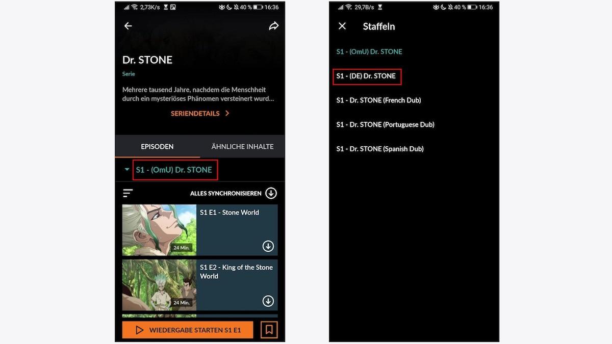 Auch in der App können Sie die deutsche Synchronisation einstellen, indem Sie auf der Übersichtsseite auf die Staffel tippen und dann die entsprechende Staffel mit dem Zusatz (DE) auswählen.