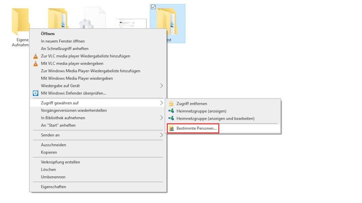 Wenn Sie Ordner in Windows 10 freigeben wollen, klicken Sie mit der rechten Maustaste auf den gewünschten Ordner und wählen Sie