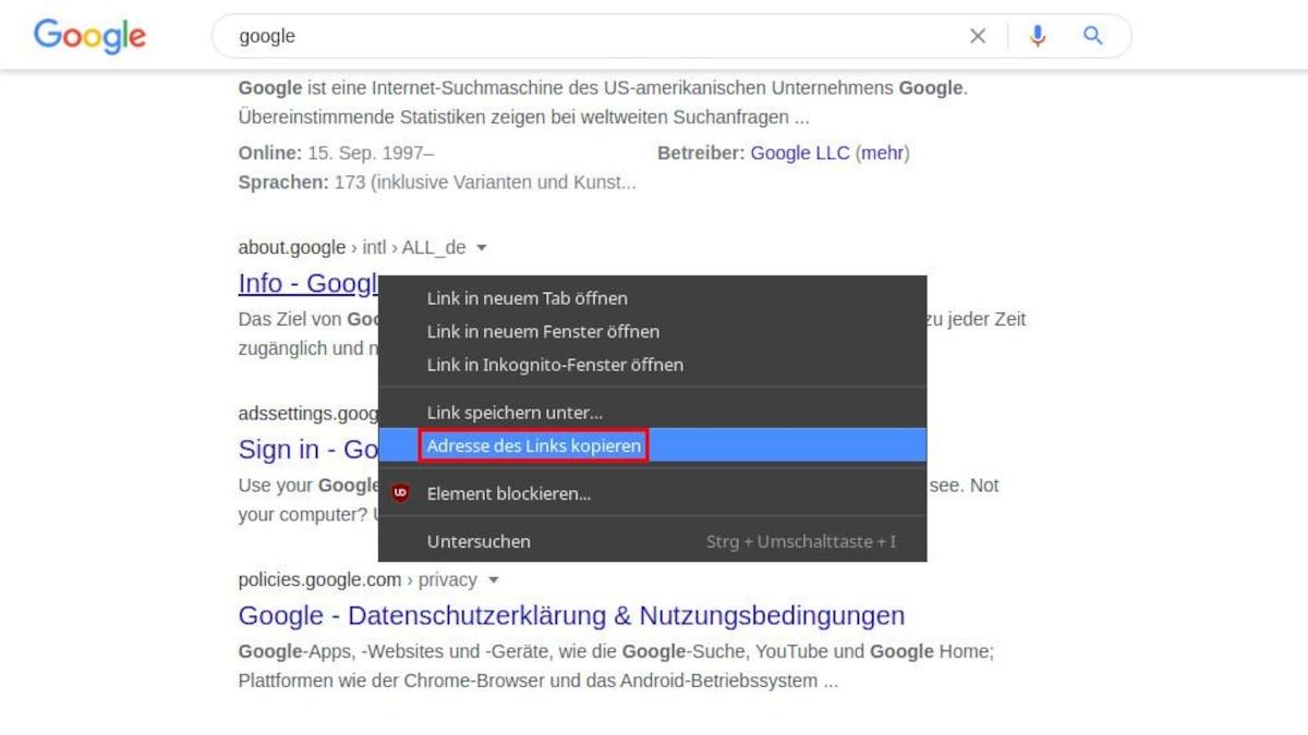 Wenn Sie den URL zu dem Suchergebnis eintragen, achten Sie darauf diesen Link korrekt zu kopieren. Am sichersten ist dies, wenn Sie mit der rechten Maustaste auf das Ergebnis klicken und