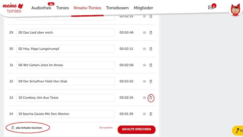 Auf der Tonies-Webseite können Sie entweder einzelne Inhalte eines Kreativ-Tonies löschen oder diesen komplett zurücksetzen.