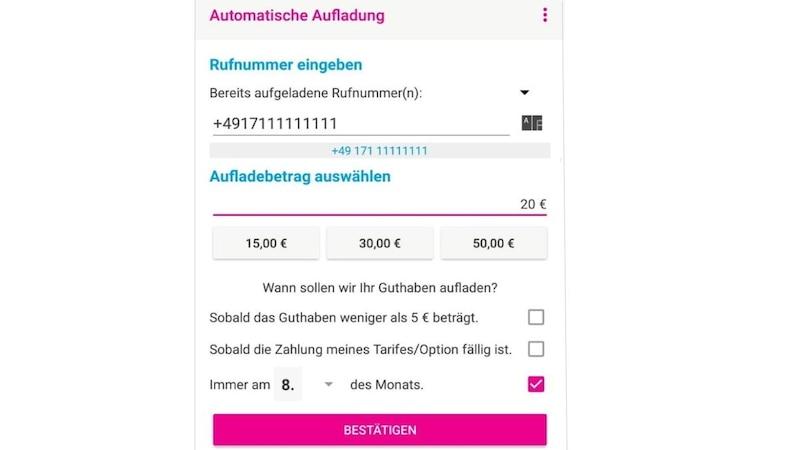 Das Aufladen des Telekom Guthabens ist über die App schnell erledigt.