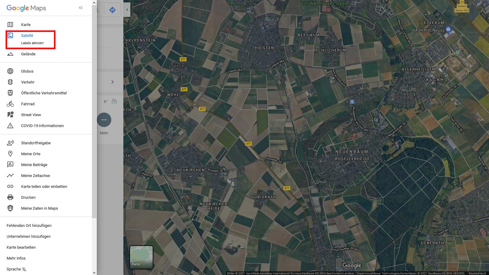 Google Maps ohne Beschriftung in der Satellitenansicht nutzen