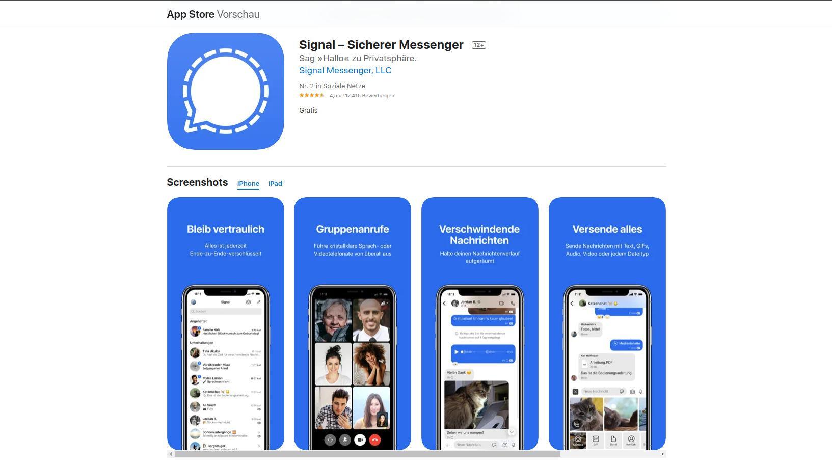 Ein abhörsicherer Messenger ist Signal. Der Dienst ist kostenlos und punktet durch die Ende-zu-Ende-Verschlüsselung und die Tatsache, dass der Quellcode öffentlich eingesehen werden kann