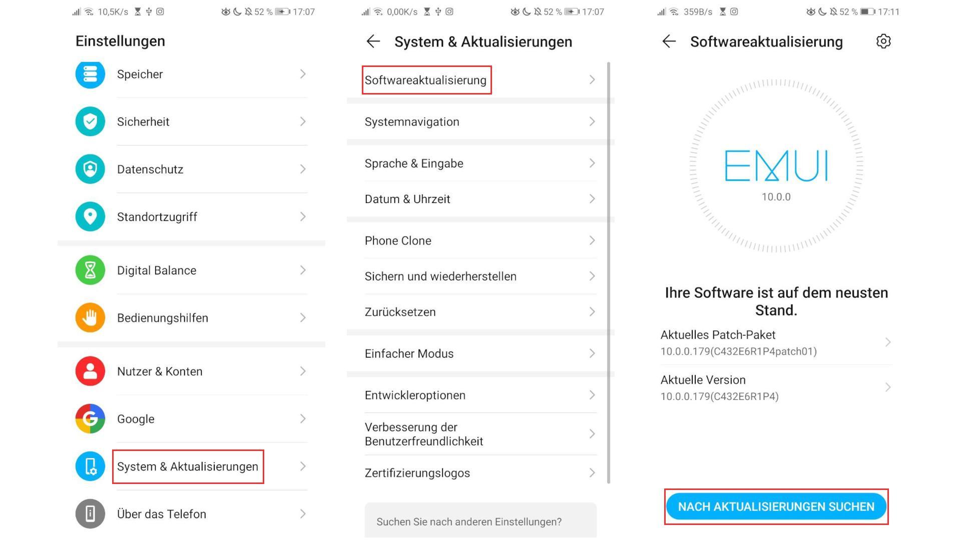 Wenn Sie bei Android ein Software-Update machen wollen, geht dies in den Einstellungen unter dem Punkt