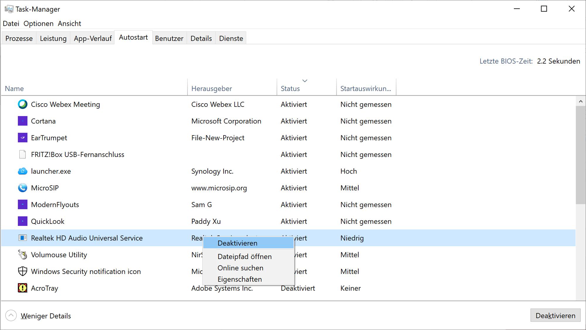 Mit dem Taskmanger können Sie Programme aus dem Autostart entfernen