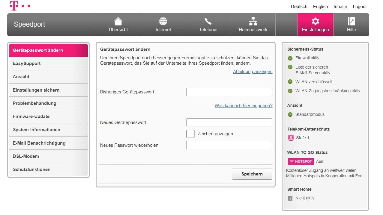 Passwort ändern beim Telekom-Router