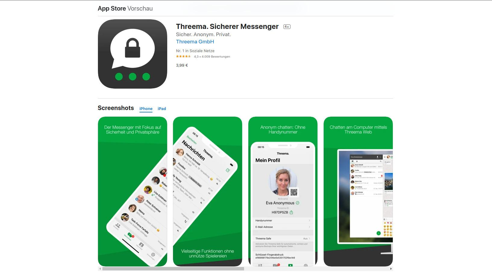 Threema ist ein Messenger aus der Schweiz. Vor allem Aspekte, wie die Threema-ID, durch die keine Rückschlüsse auf Ihre Person möglich sind, überzeugen