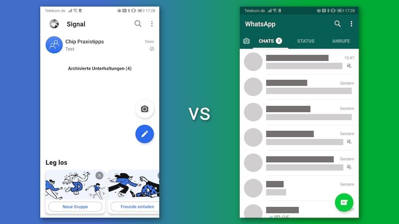 WhatsApp und Signal im Vergleich