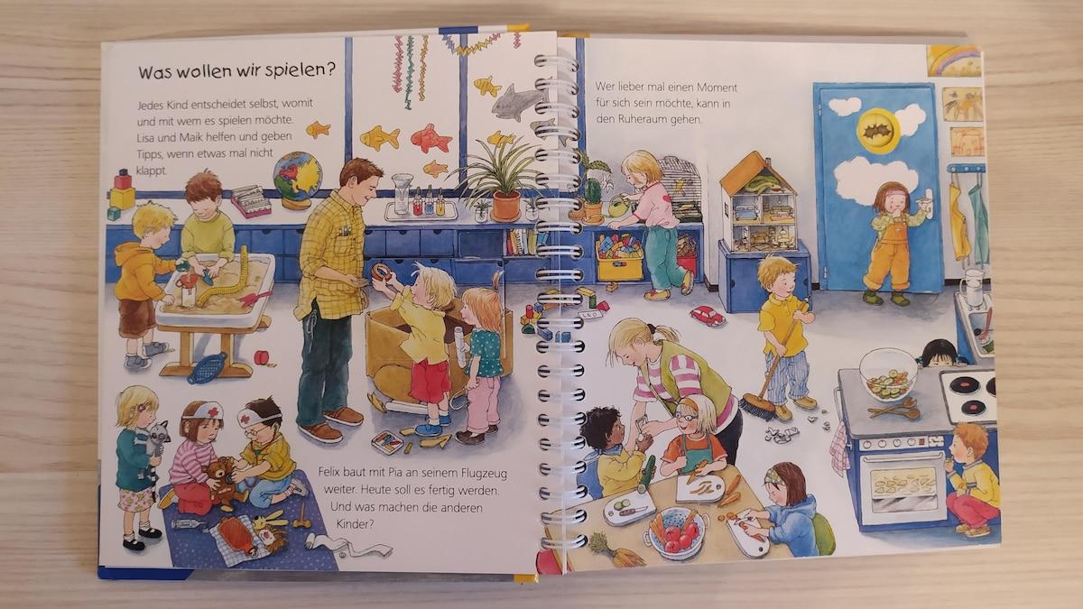 Der junge Leser geht hier mit dem Kindergartenkind Felix auf eine Entdeckungsreise durch die Einrichtung. Damit bietet sich das Buch zur Vorbereitung auf den Kindergartenbesuch an.