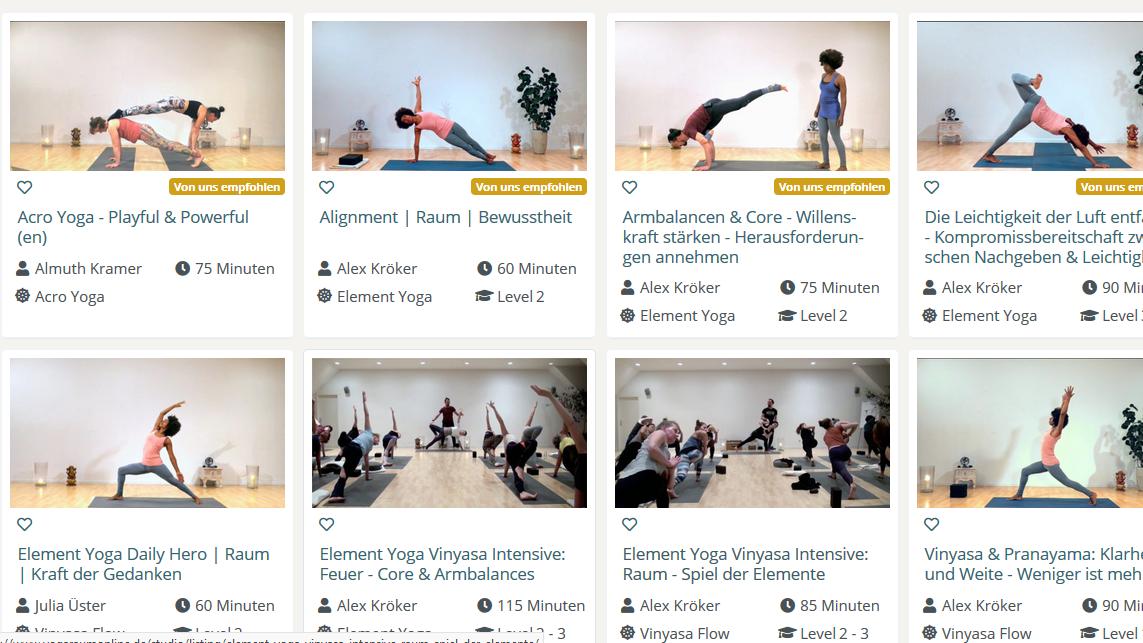 Im Yogaraum erleben Sie online Yoga-Klassen mit anderen Yoginis.