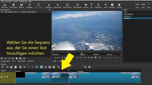 Shotcut: Klicken Sie auf den Videoclip, bei dem Sie Text einfügen möchten.