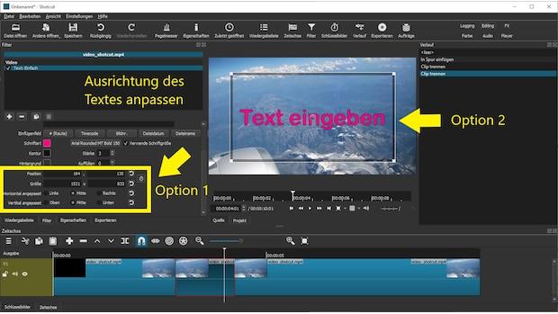 Verändern Sie die Position des Textes im Textmenü oder per Mauszeiger direkt in der Videovorschau.