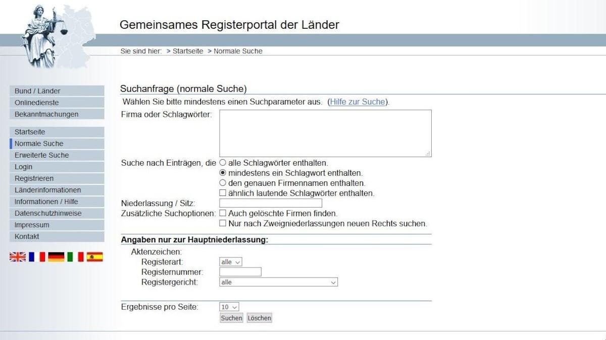 """Über das """"Gemeinsame Registerportal der Länder"""" können Sie online einen Handelsregisterauszug zu einer Firma anfordern."""