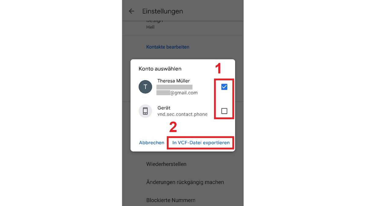 Wählen Sie das Google-Konto aus, aus dem Sie Kontakte exportieren möchten. Drücken Sie auf