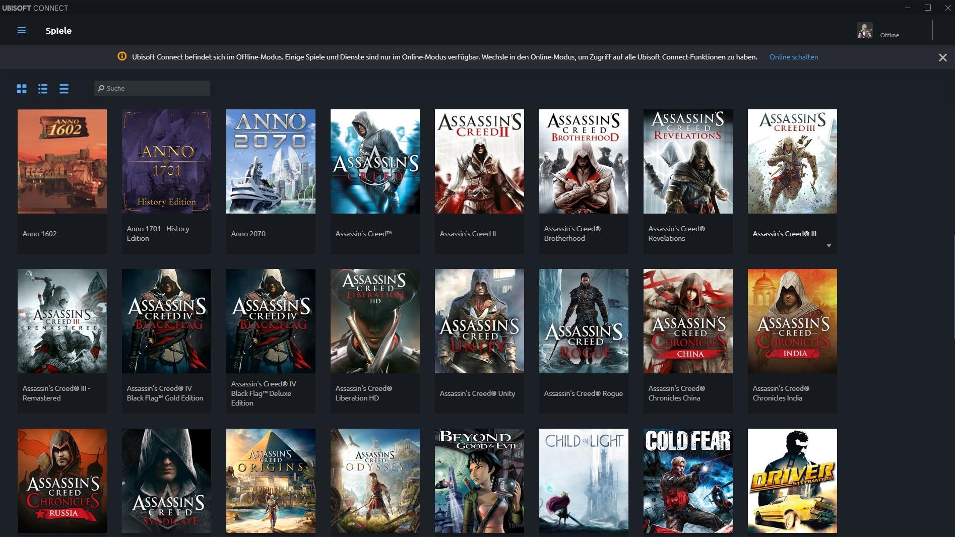 Dienst nicht verfügbar: Ubisoft Connect (Uplay) im Offline-Modus