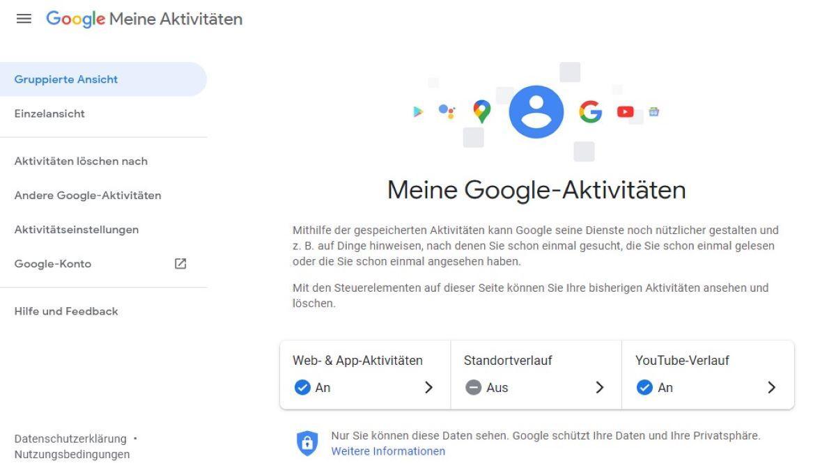 Auf Google History sehen Sie Ihre Aktivitäten.