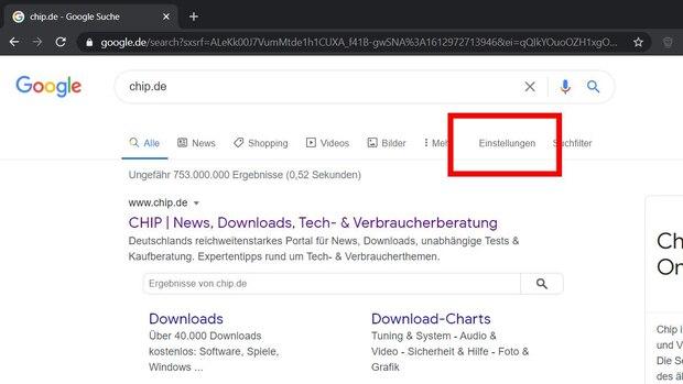 Um in Google den Dark Mode zu aktivieren oder zu deaktivieren, klicken Sie zunächst in der auf