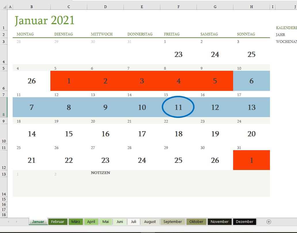 Ein Zykluskalender kann dabei helfen den Eisprung (eingekreist) und die fruchtbaren Tage (hier blau) zu berechnen.