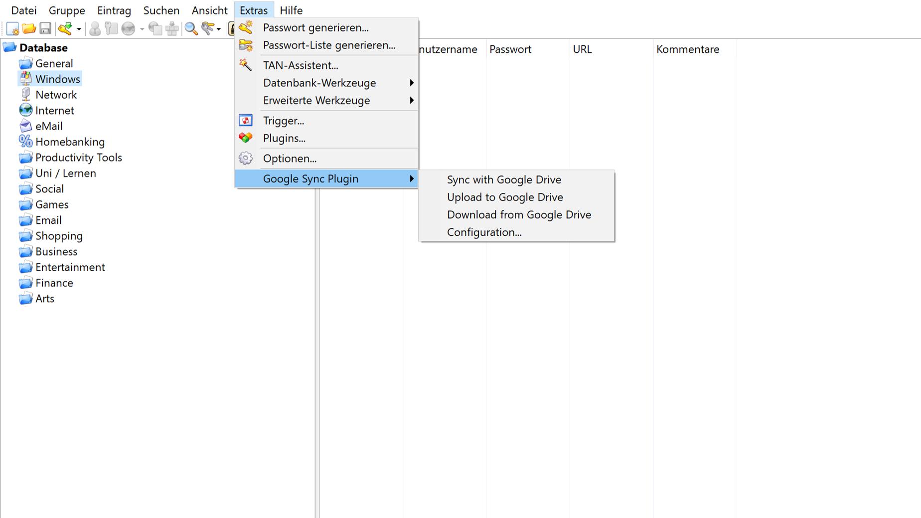Mit unterschiedlichen Plugins können Sie Ihre KeePass Datenbank synchronisieren.