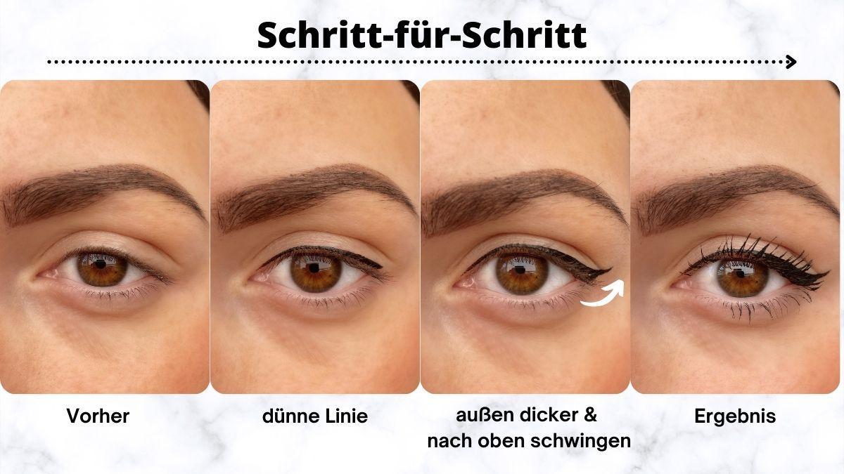 Mit dieser Schritt-für-Schritt-Anleitung gelingt eine Eyelinerlinie, die sich für Schlupflider eignet.