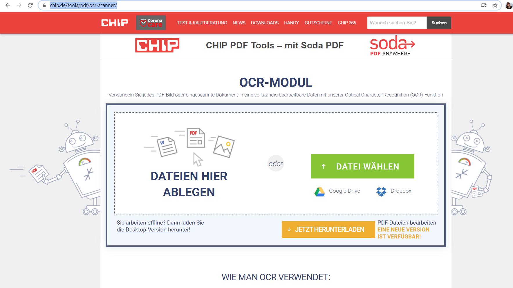 Text aus PDF und Bildern auslesen ganz bequem mit Chip OCR-Tool