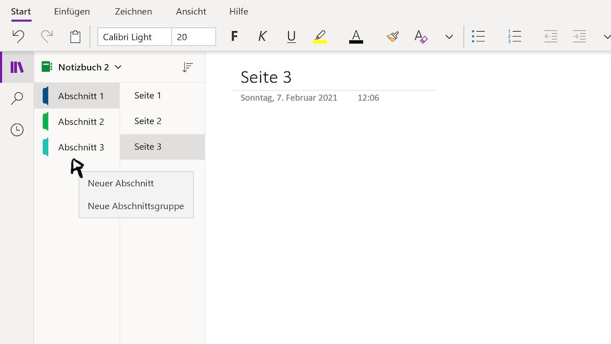 Erstellen Sie Notizbücher, Abschnitte und Seiten mit OneDrive.