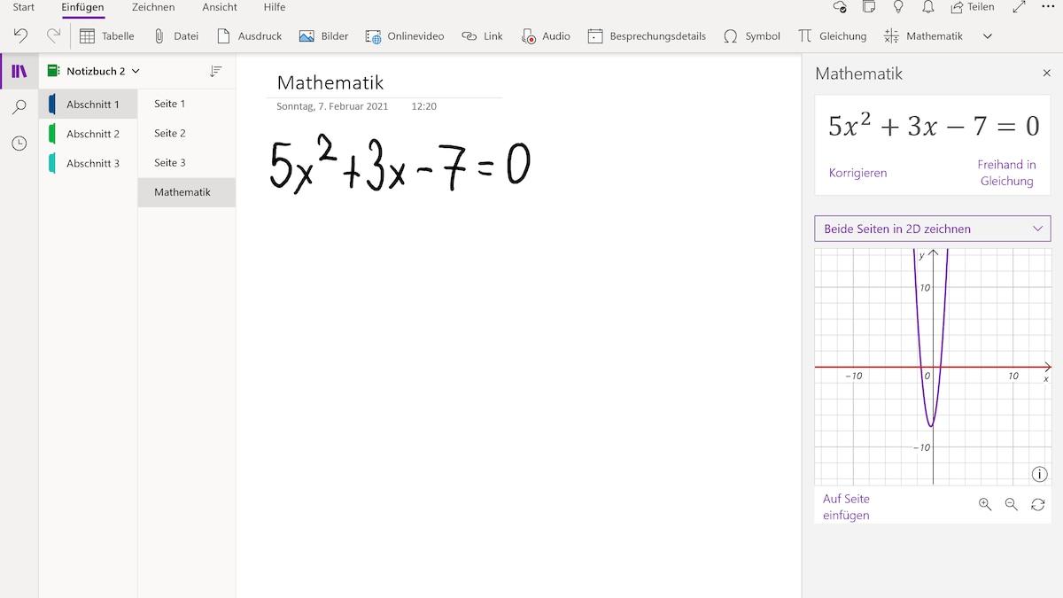 OneNote hilft Ihnen bei mathematischen Formeln.