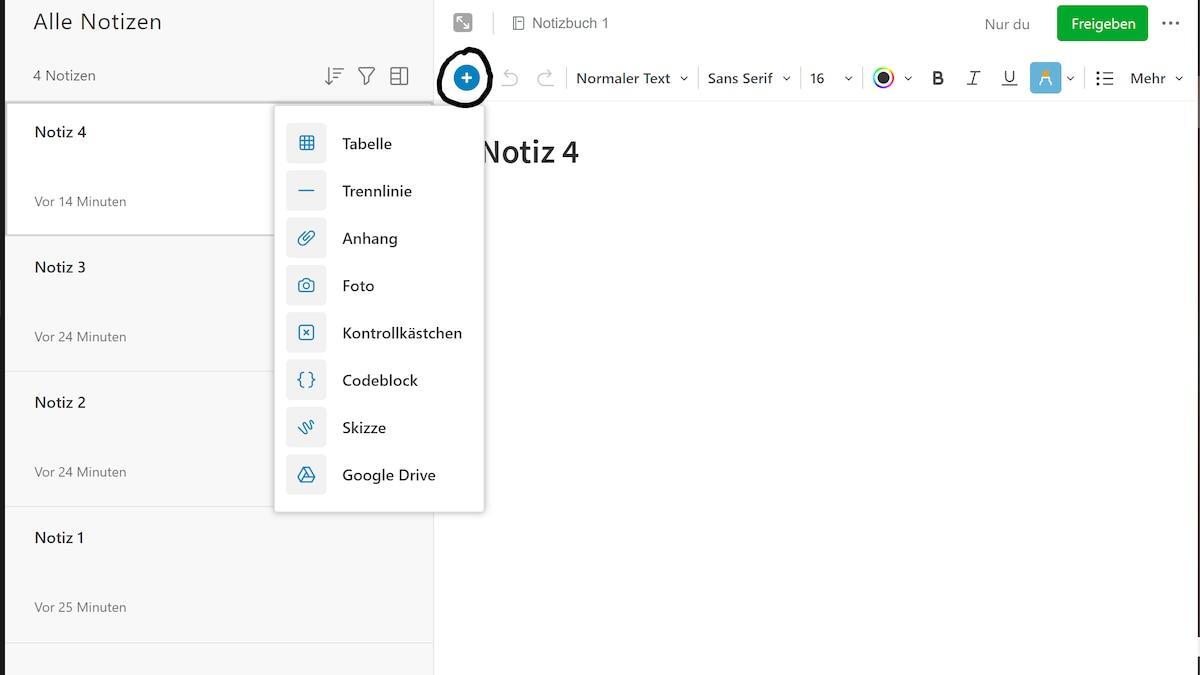 Evernote ermöglicht Ihnen die Gestaltung übersichtlicher Notizen