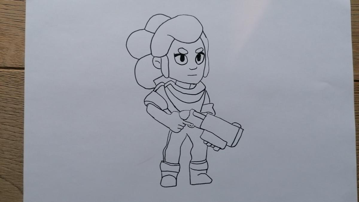 Im ersten Schritt müssen Sie die Konturen der Brawl Stars Figur zeichnen.