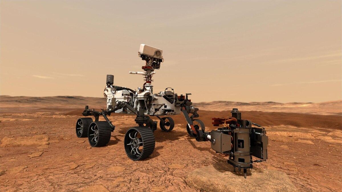 Illustration: Perseverance soll mit seinem Bohrer Gesteinsproben auf dem Mars entnehmen.