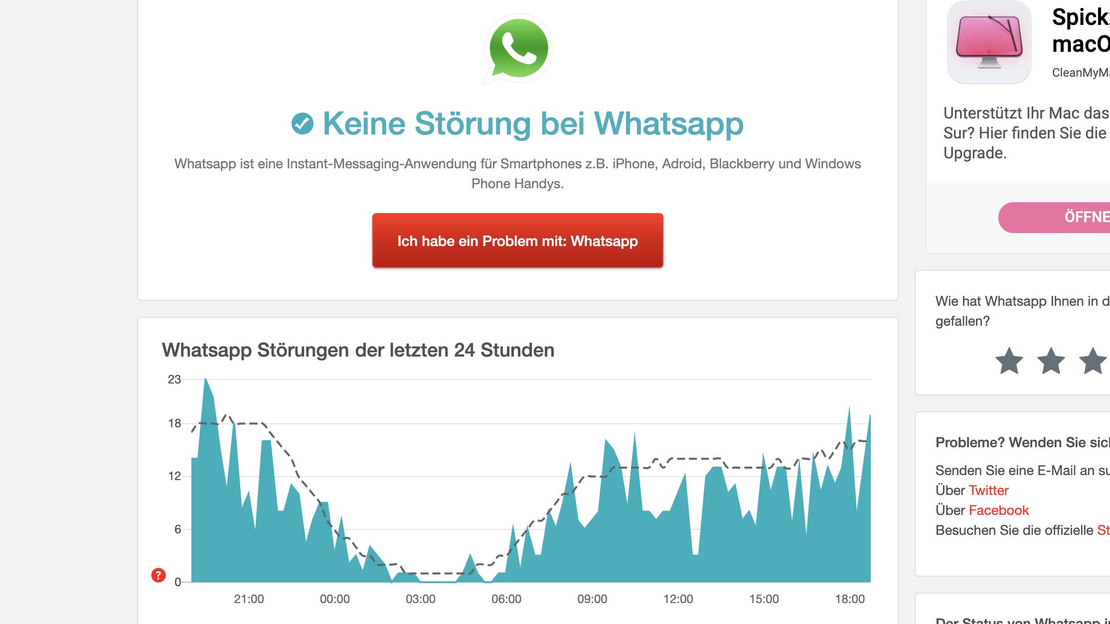 Störung bei WhatsApp ermitteln über allesstöungen.de.