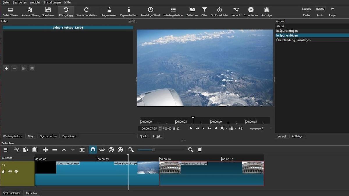 In Shotcut erstellen Sie Übergänge zwischen Videoclips mithilfe von Überblendungen.