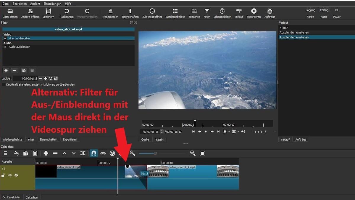 Alternativ ziehen Sie Aus-/Einblendungen mit dem Mauszeiger direkt im Clip in der Videospur.