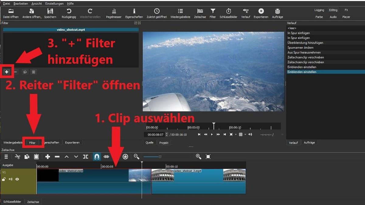 Videoübergang mit Filter erstellen: Klicken Sie einen Clip an. Öffnen Sie den