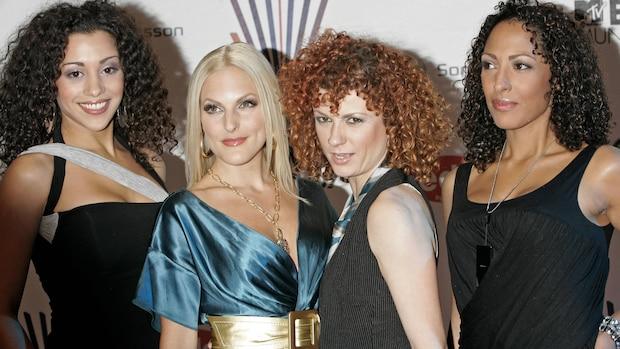 No Angels 2007 bei den MTV Europe Music Awards in München (v.l.n.r.: Nadja Benaissa, Sandy Mölling, Lucy Diakovska, Jessica Wahls)