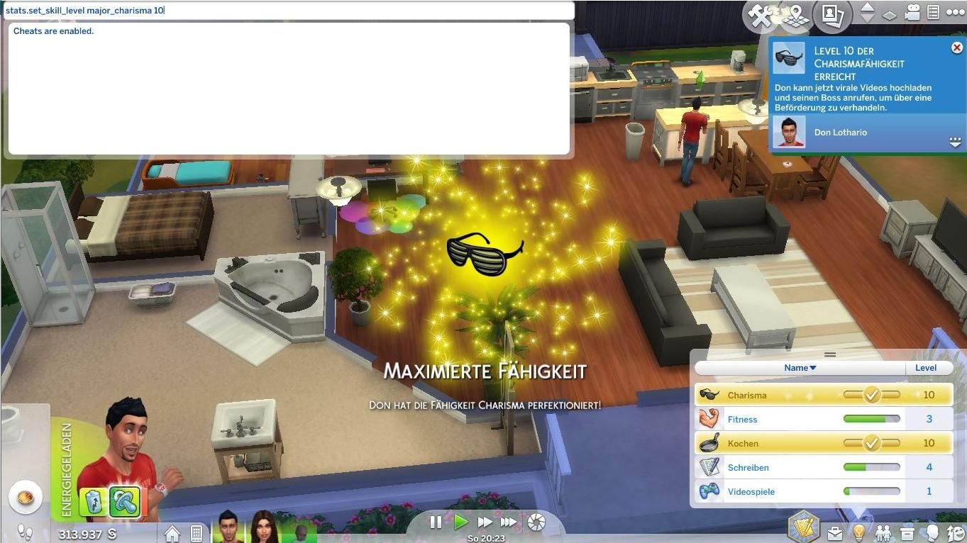 Sims 4: Mit Fähigkeiten-Cheats erreichen Ihre Sims sofort das höchste Level einer Fähigkeit.