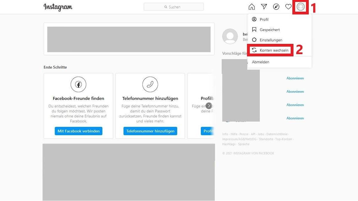 Um Ihren Account bei Instagram am PC zu wechseln, klicken Sie auf Ihr Profilbild und dann auf
